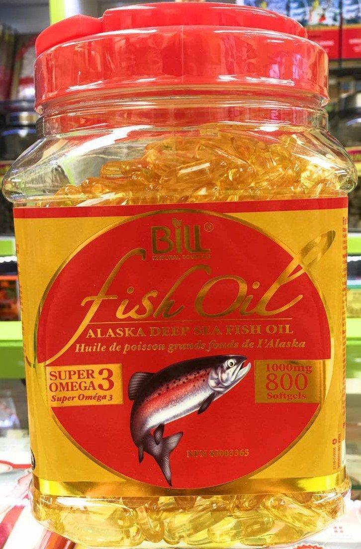 Bill Natural Sources Alaska Deep Sea Fish Oil, Super Omega-3, 1000mg, 800 softgels (Gift Pack)