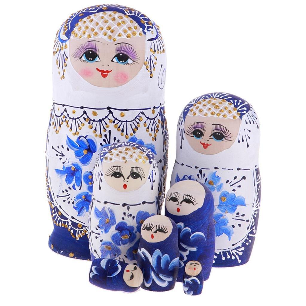 Motif Fille Fleur Bleu Sharplace 7pcs Poup/ées Russes en Bois Jouets Cadeaux Enfants Gar/çons Filles