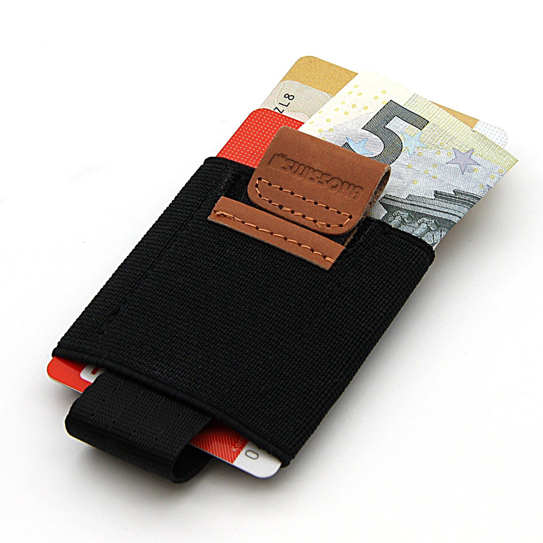 SWISSONA porta carte in materiale plastico elasticizzato e vera pelle | con 2 anni di garanzia di soddisfazione | porta carte di credito, astuccio per carte, mini portafoglio, portafogli, borsellino SC-296