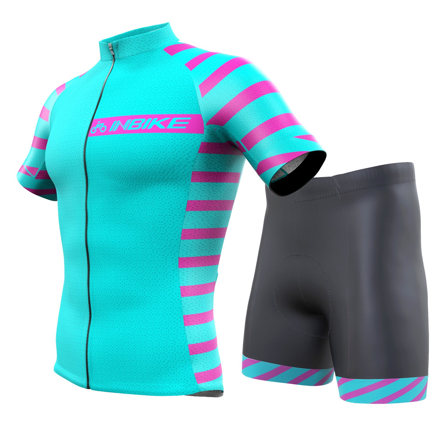 INBIKEメンズandレディース夏通気性Cycling Jersey and 3dシリコンパッド入りショーツOutfit B0732YYXMR Female(US)XXS-(CN)S|アクアマリン アクアマリン Female(US)XXS-(CN)S