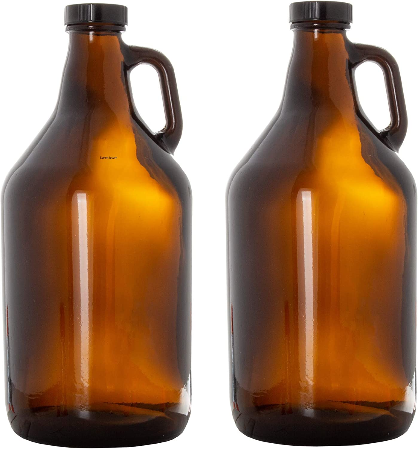 Glass Growlers for Beer, 2 Pack with Funnel - 64 oz Growler Set with Lids - Great for Home Brewing, Kombucha & More