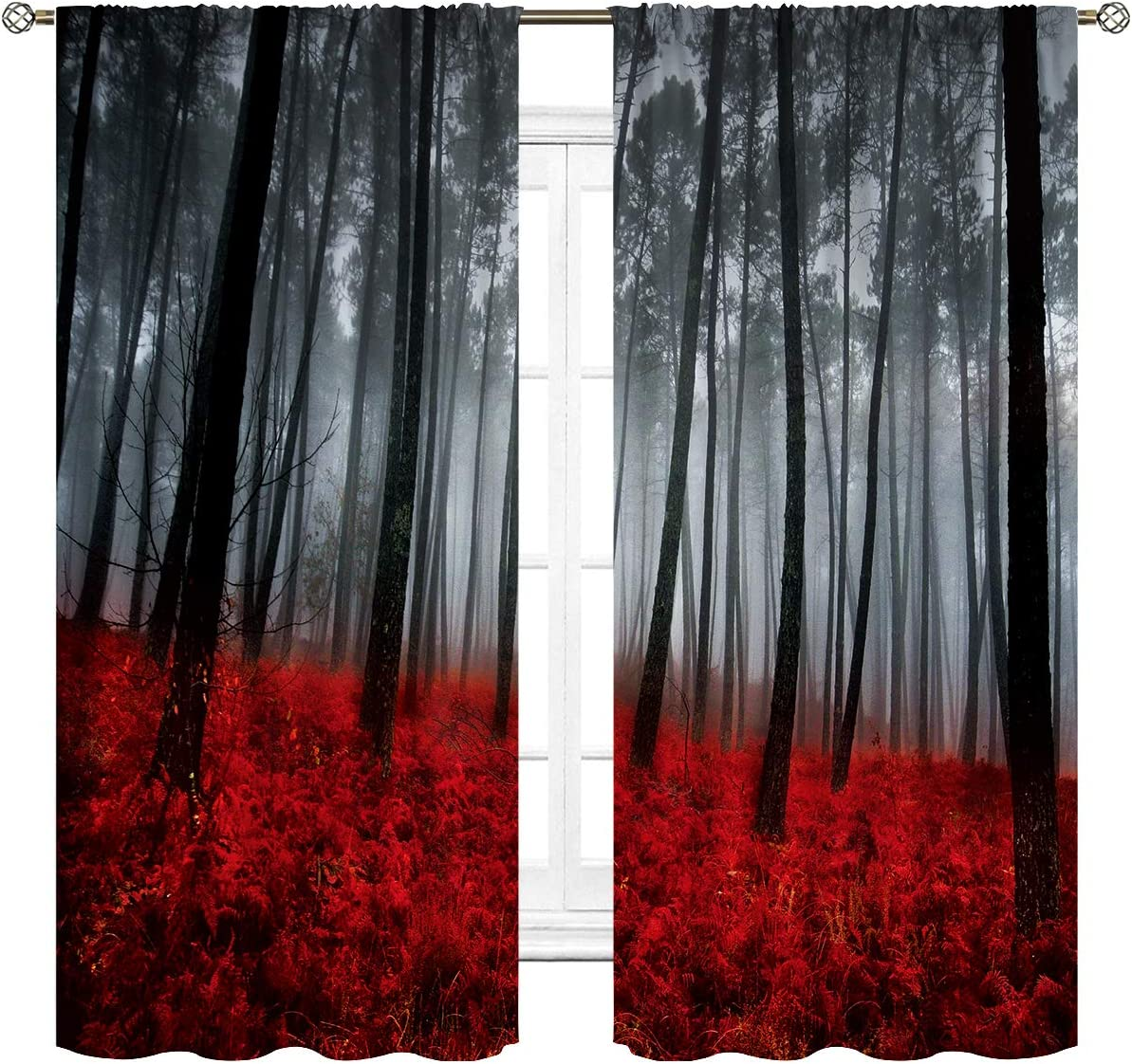 Cinbloo Black and Red Mysterious Forest Curtains Rod Pocket Rainy Foggy Scene Floral Tree Modern Art Printed Living Room Bedroom Window Drapes Treatment Fabric 2 Panels 42 W x 63 L Inch