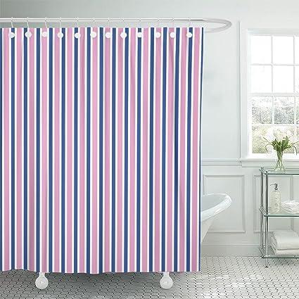 Amazon Emvency Shower Curtain Blue Preppy Navy And Pink Stripe