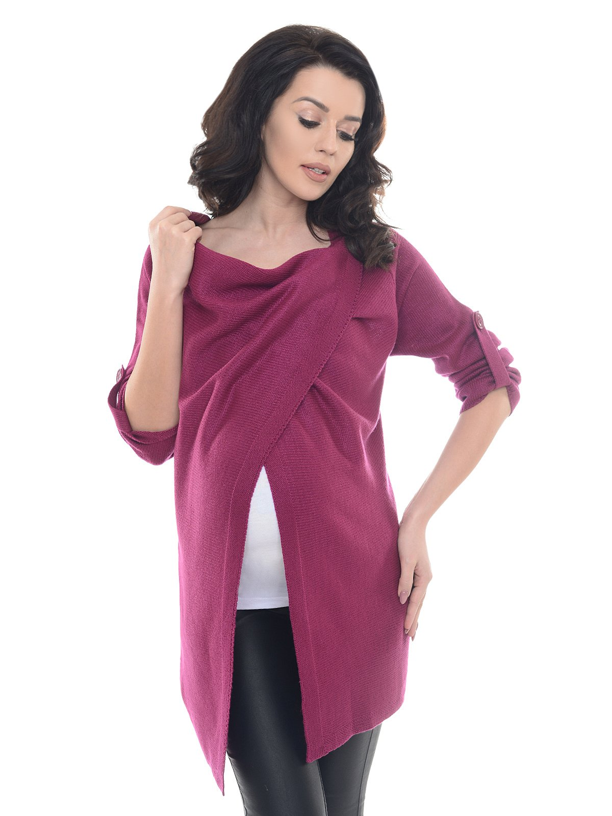 Purpless Maternity Pregnancy and Nursing Cardigan 9001/5 (8/10, Dark Pink)