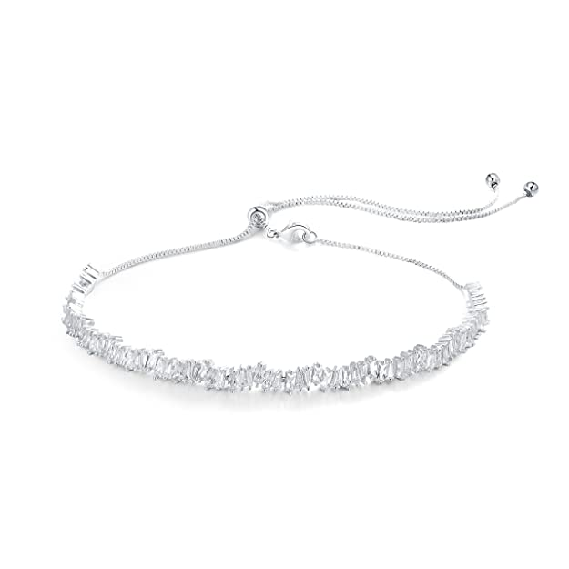 OSIANA Womens Choker Adjustable Brass with CZ Crystal Necklace in Gift Box-E-01Silver
