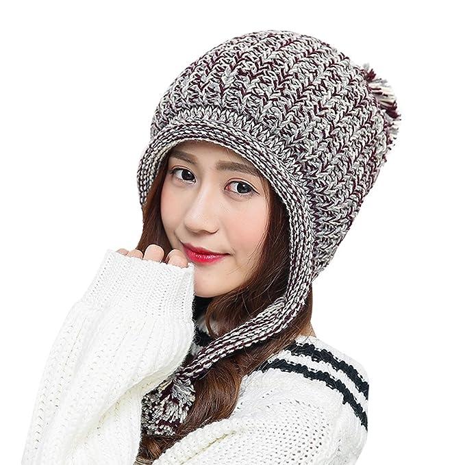Wintermütze Frauen Dicke Warme Gestrickte Ohrenklappen Beanie Häkeln