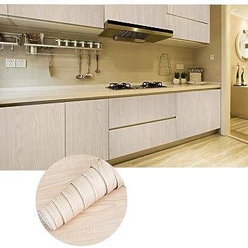KINLO Aufkleber Küchenschränke 0.61x5M Beige Holz Möbelfolie PVC ...