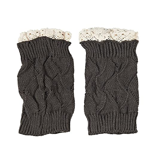 208c149ac4 Leg Warmer Cable Crochet Boot Cover Women s Cuffs Lace Knitted Boot Sock  Cuffs(Dark Grey