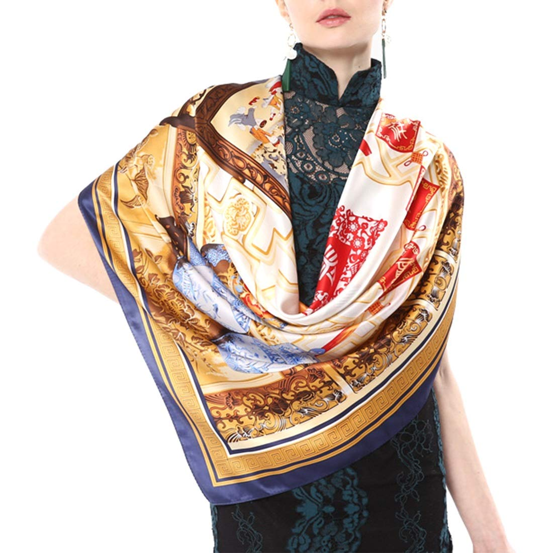 1 CEFULTY Silk Scarf Soft and Light Satin Silk Print Square Scarf for Womens Ladies (color   1, Size   105x105CM)