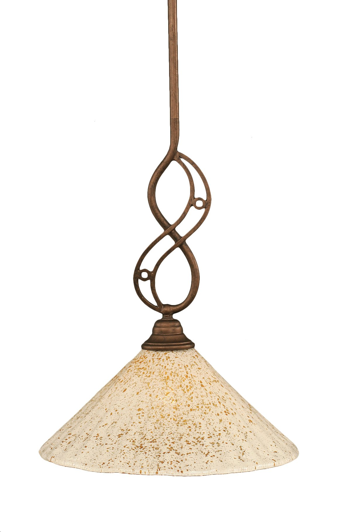 Toltec Lighting 232-BRZ-702 Jazz Mini-Pendant Bronze Finish with Gold Ice Glass Shade, 12-Inch by Toltec Lighting
