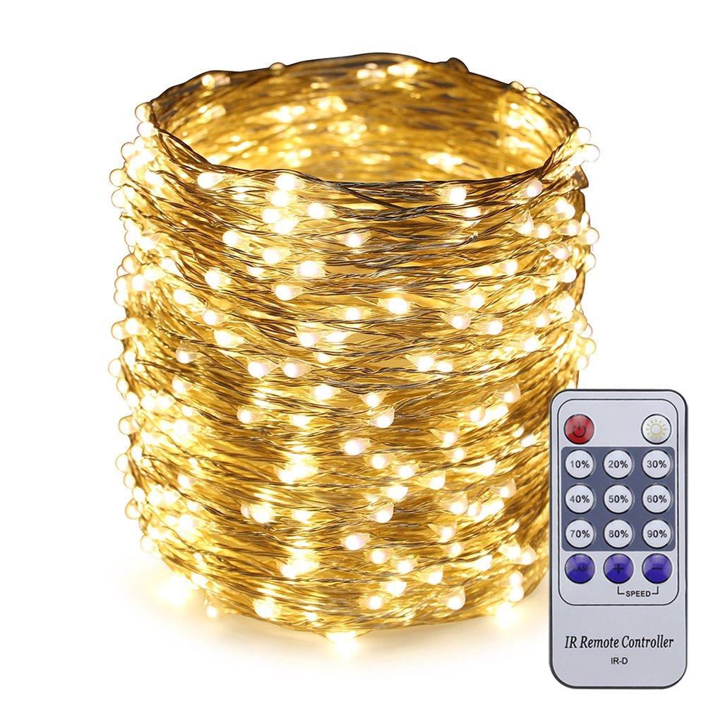 ER CHEN(TM) 165ft Led String Lights,500 Led Starry Lights on 50M Silver Coating Copper Wire String Lights + 12V DC Power Adapter + Remote Control(Warm White)