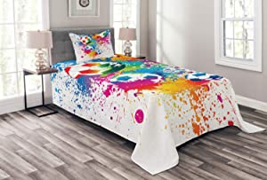 Ambesonne Soccer Bedspread, Colored Splashes All Over Soccer Balls Score World Cup Championship Athletic, Decorative Quilted 2 Piece Coverlet Set with Pillow Sham, Twin Size, Blue Rainbow