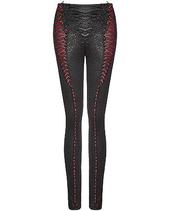 ec5122bd9e36d Punk Rave Womens Gothic Leggings Pants Black Red Steampunk VTG Corset Lace:  Amazon.co.uk: Clothing