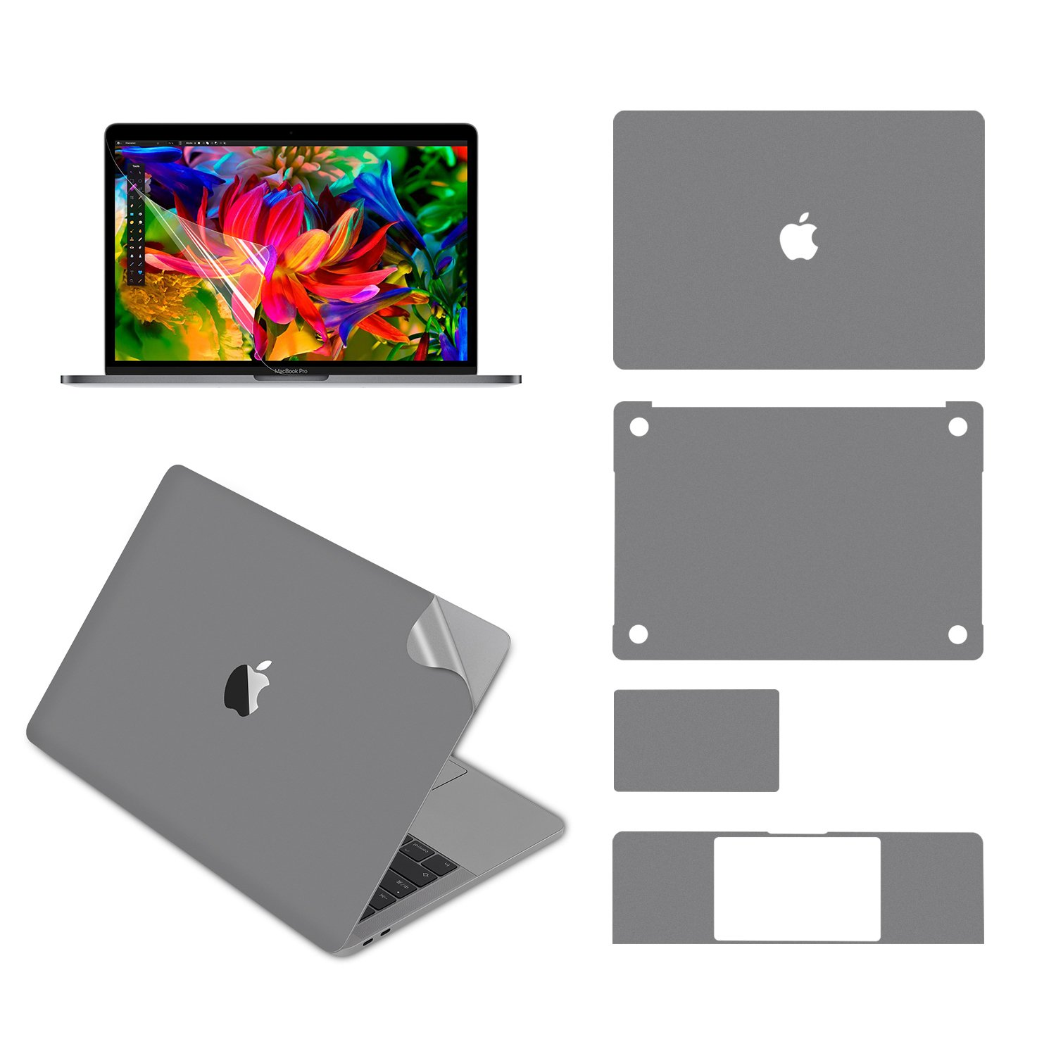 LENTION Full Body Stickers Compatible MacBook Pro (13-inch, 2016-2018, with Thunderbolt 3 ports), Full-Cover Protective Vinyl Decal Skin (Top/Bottom/Touchpad/Palm Rest) + Screen Protector (Space Gray)