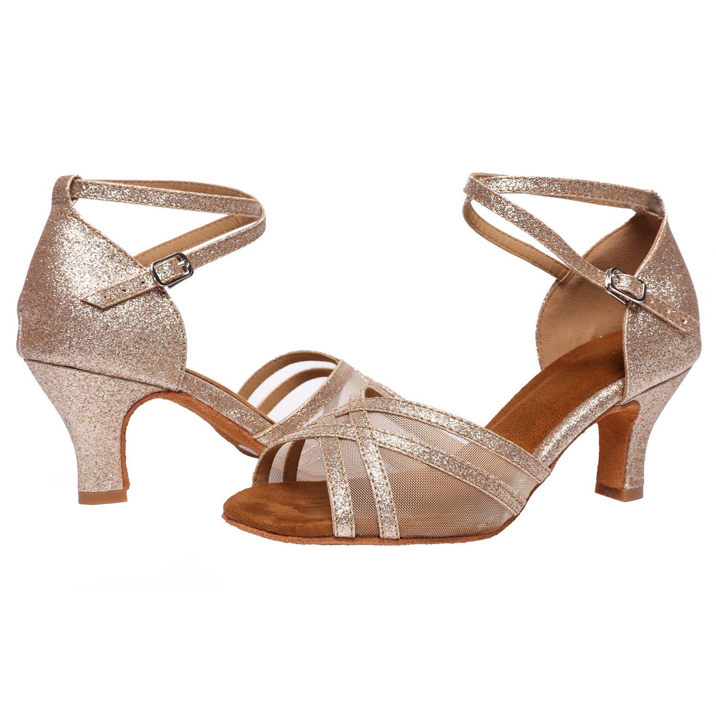 Akanu Women's Latin Dance Shoes Female's Ballroom Salsa Dance Shoes(E-Style Gold Size 7.5) by Akanu (Image #7)