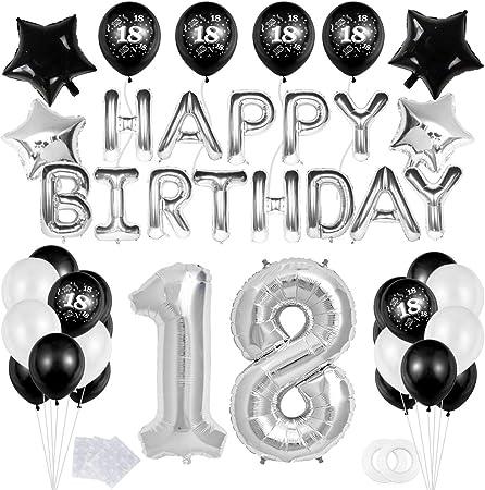 """18 Decoración Fiesta Negro plata Cumpleaños -""""Happy Birthday"""" Bandera Banner;Número 18 Globo;Balloon de Látex&Estrella para el Cumpleaños de 18 Años impresión para Niño Hombres Niña Mujer: Amazon.es: Hogar"""