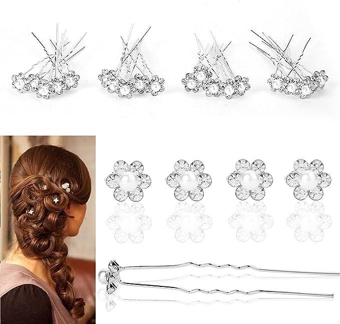 Horquillas para el pelo de novia de imitación de cadena de perlas de cristal con forma de U para accesorios de peinado
