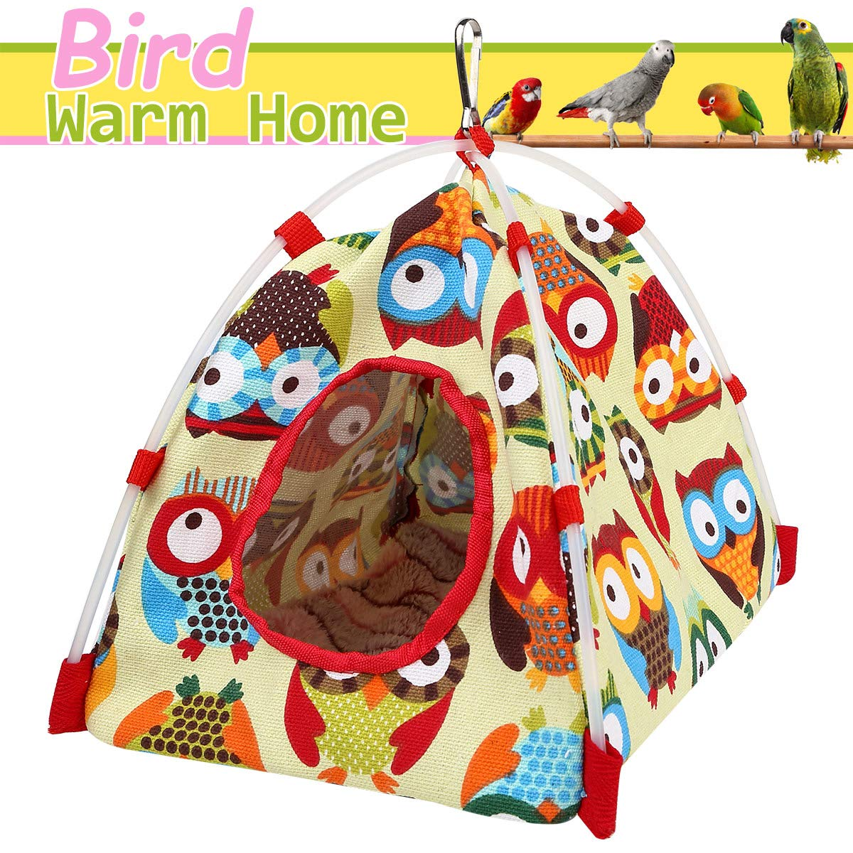 Aigou Bird Toys, Bird Hammock, Parrot Hanging Tent, Bird Nest House Bed, Parrot Habitat Cave Hanging Tent, Intelligence & Physique Improvement Cage Decor for Small and Medium Animals Parrot(Yellow)