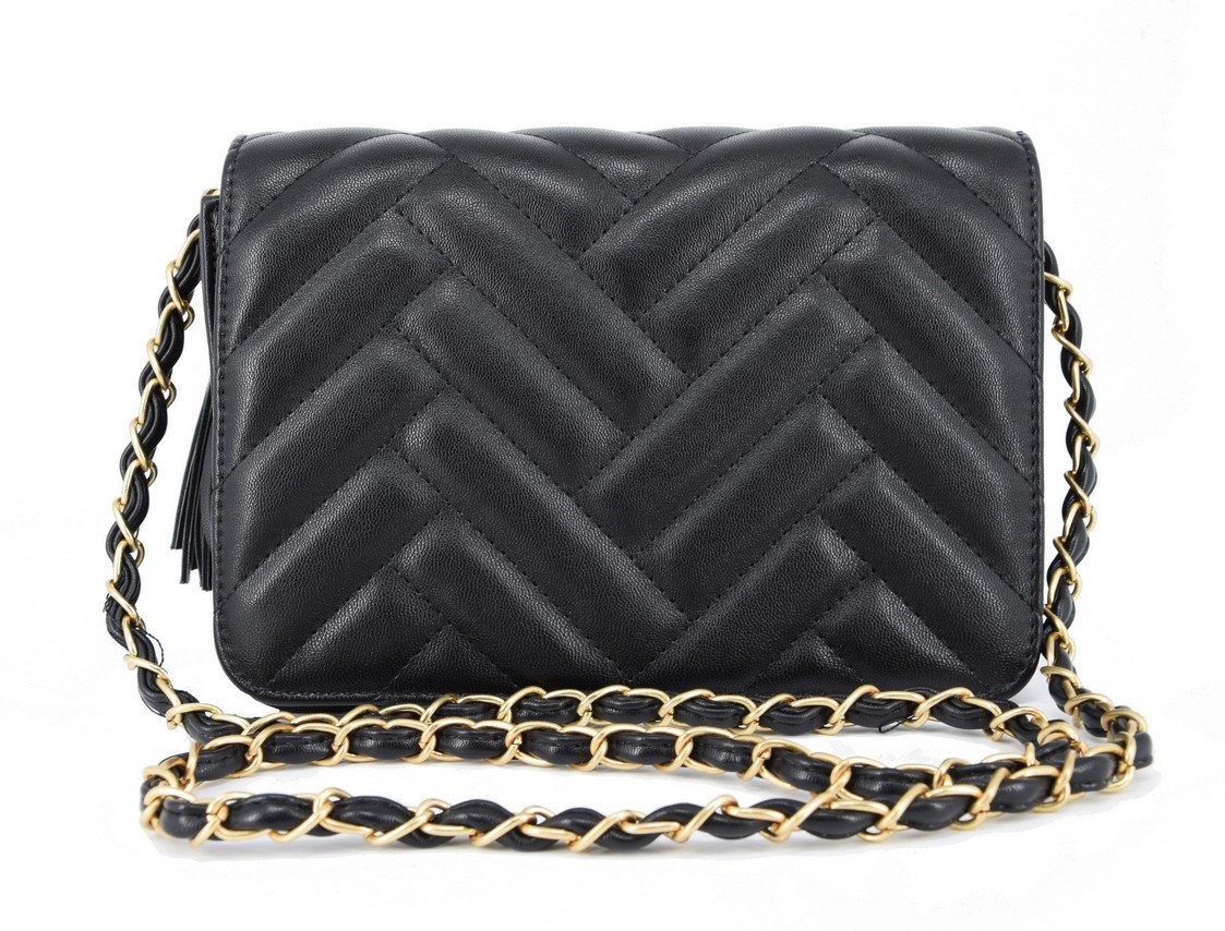 Designer Inspired Leather Quilted Chevron Cross Body Quilted Shoulder Side Bag