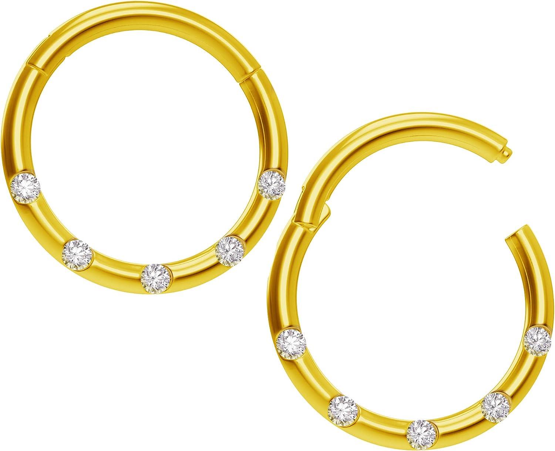 Amazon Com Bling Piercing 2pc 18g Cz Gold Clicker Septum Ring