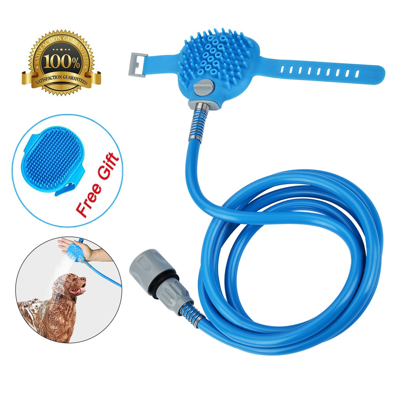 MABOLON Pet Shower Sprayer-Pet Bathing Tool for Dog, Multi-Functional Combination Shower Sprayer and Scrubber with Massage Glove, Indoor and Outdoor Use