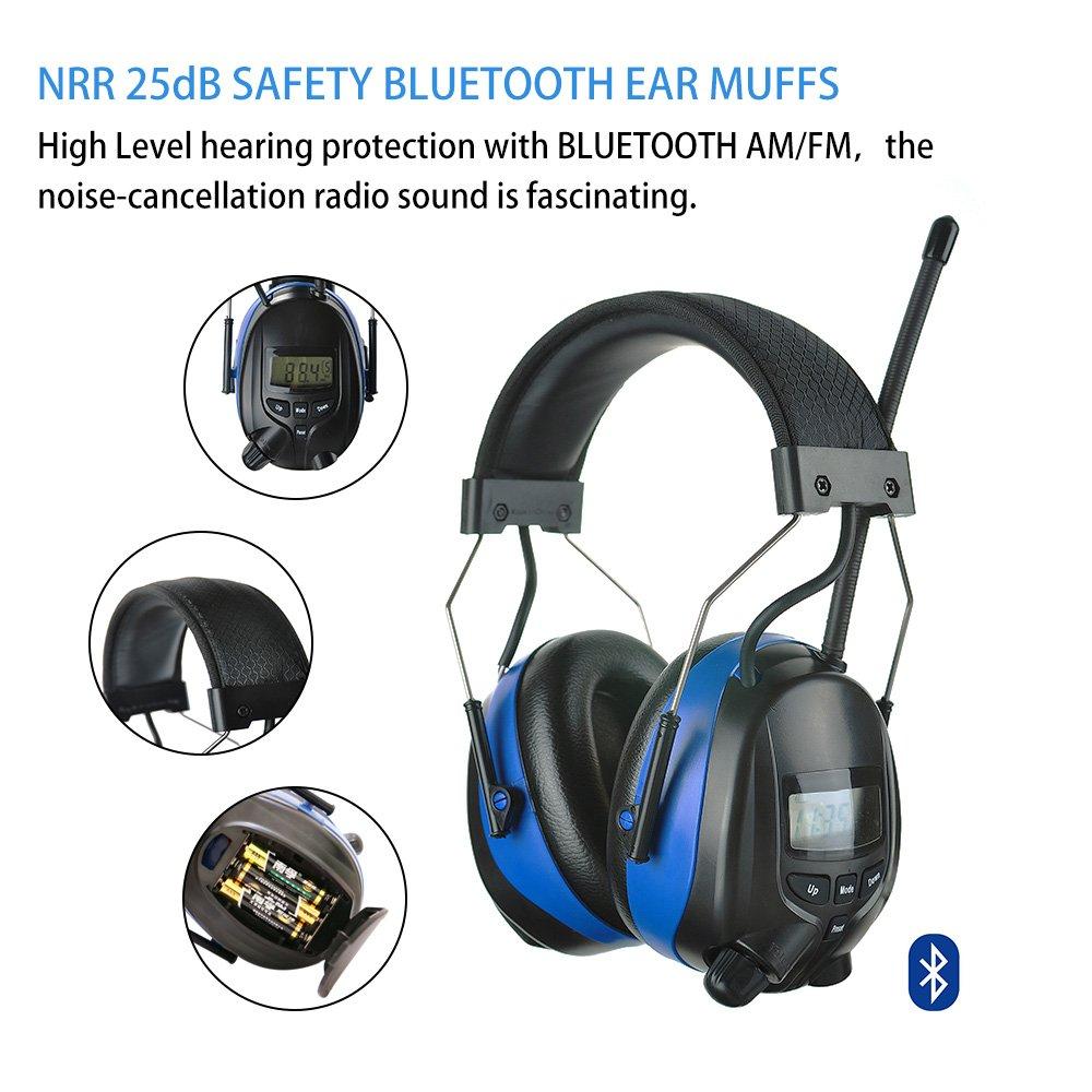 Protear Cuffie di sicurezza Bluetooth con radio FM AM digitale ... 4bbe162ff06e