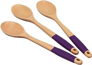 Chef Craft Premium Wooden Spoon Set, 3 Piece, Purple