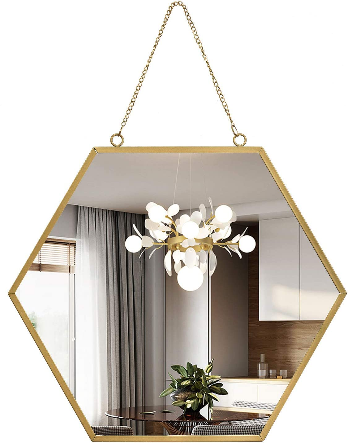 Gold Hexagon Hanging Wall Mirror with Chain Geometric Minimalist Home Décor for Bedroom Bathroom Living Room Entryway 15.7