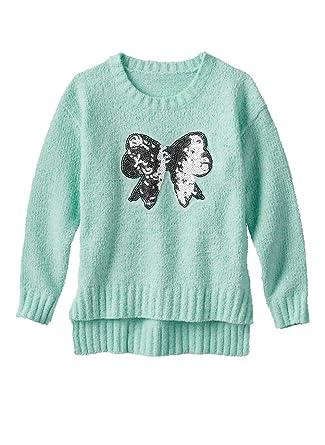 40a70bf006e Amazon.com  Blush   Bloom Girls Silver Bow Applique Cozy Sweater ...