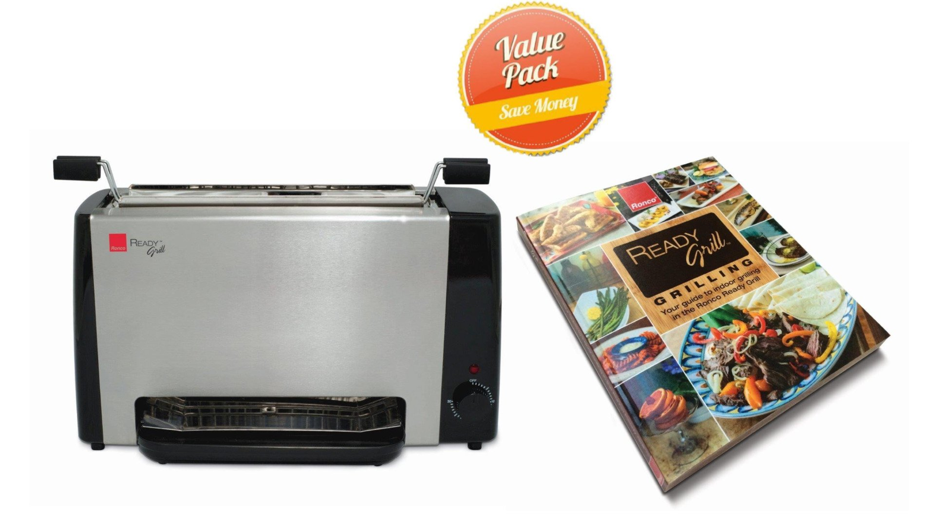 Ronco RG1001BLGEN Ready Grill, Black, With the Ready Grill Cookbook
