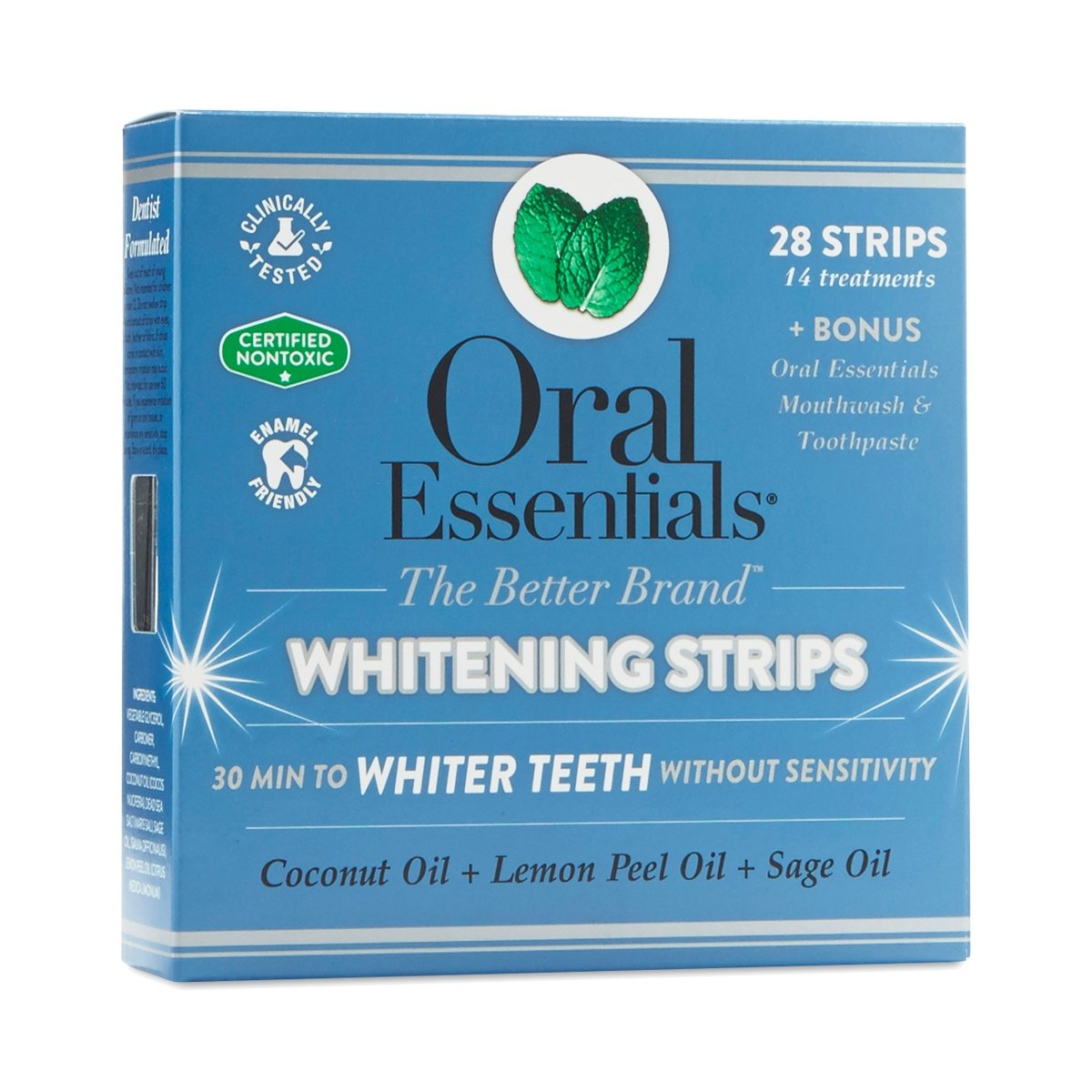 Oral Essentials Whitening Strips 14 Treatments No Sensitivity or Peroxide/Clinically Tested/NonToxic Oral Essentials (Beauty)