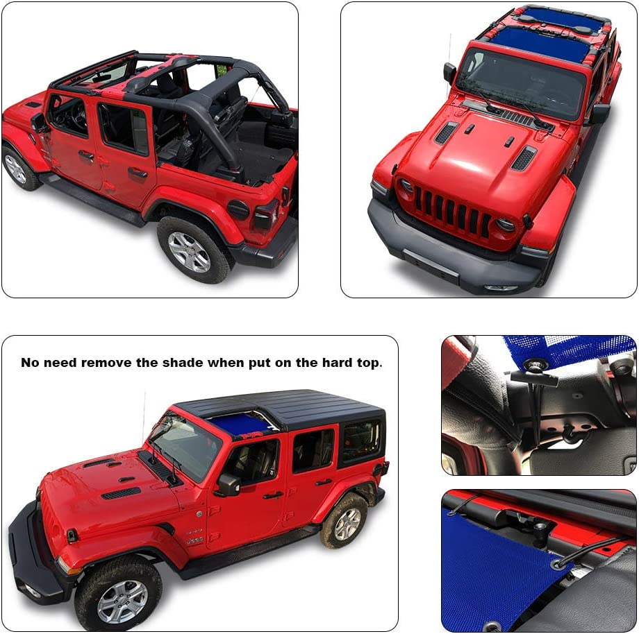 2018 - Current White JLU Mesh Screen Cover Front /& Rear - 10 Years Lasting UV Blocker with Grab Bag Pouch Shadeidea Jeep Wrangler Sun Shade JL 4 Door Top Sunshade