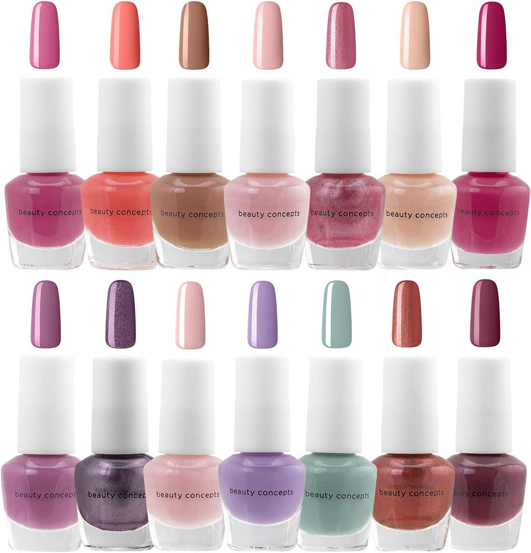 B.C. Beauty Concepts Nail Polish Set - 14 Mini Nail Polish Colors, Polish Kit for Fingernails and Toenails