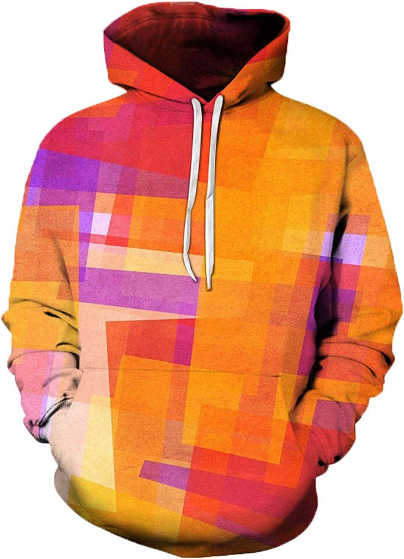 Maglione con Cappuccio Stampato Colorato 3D Hip-Hop Casual Trendy Men