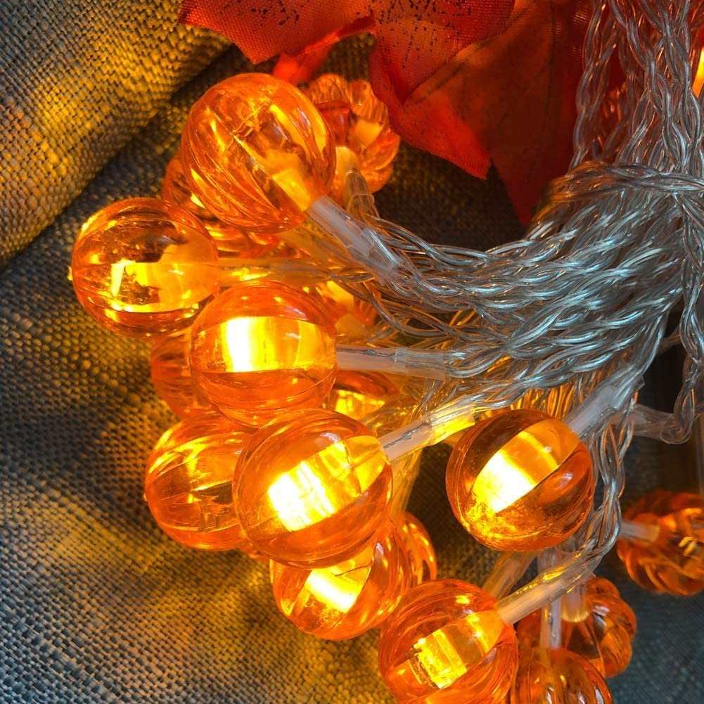 3 Pack Thanksgiving Lights Maple Leaves Pumpkin String Lights Thanksgiving Decorations, Total 30 Ft & 90 LED Fall Decor Battery Operated Fairy Fall Lights for Holiday Autumn Garland Decoration
