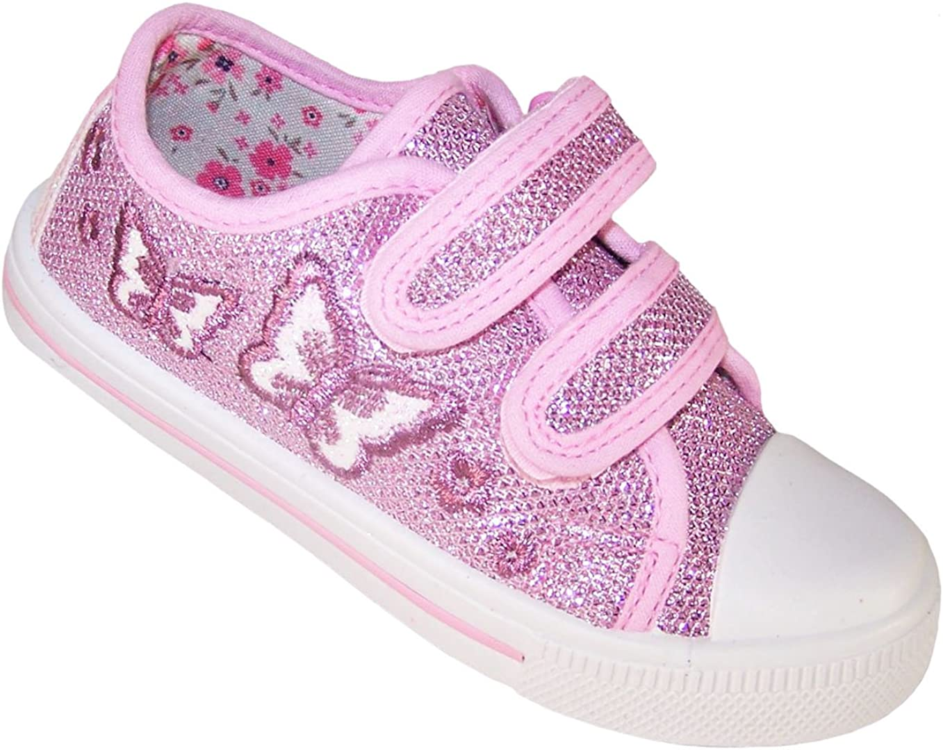 Pink Sparkly Glitter Butterfly Trainers