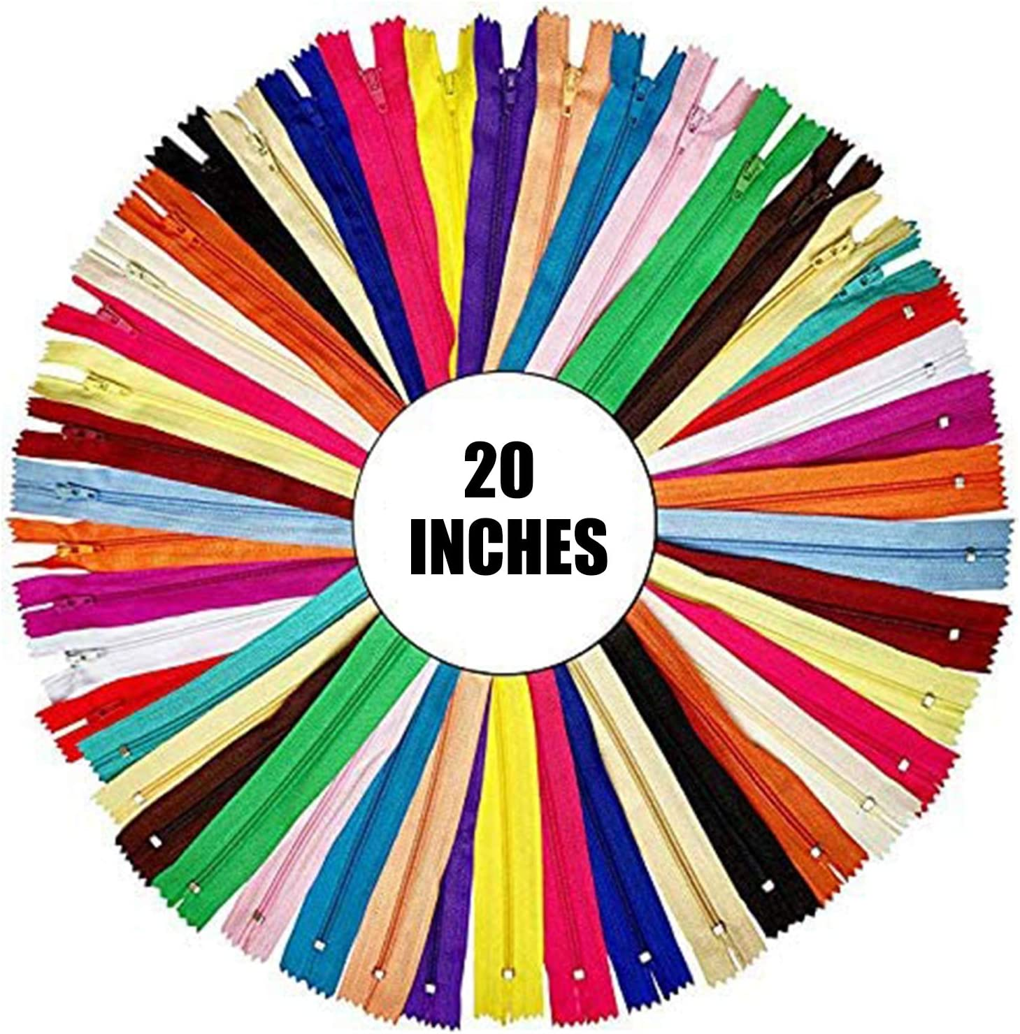 20 Assorted Colors 5 Inch Colorful Sewing Zippers Supplies for Tailor Sewing Crafts 60pcs Nylon Coil Zippers