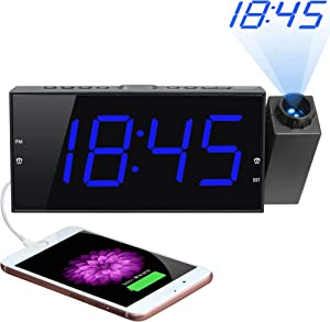 """Projection Digital Alarm Clock for Bedrooms Ceiling, Projector Clock, 7"""" Large LED Display & Dimmer, USB Charger, Adjustable Ringer, 12/24H,Plug in Loud Dual Alarms for Wall, Kids Heavy Sleeper Senior"""