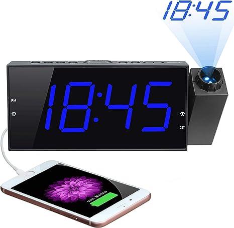 Amazon.com: Reloj despertador de proyección, pantalla LED ...