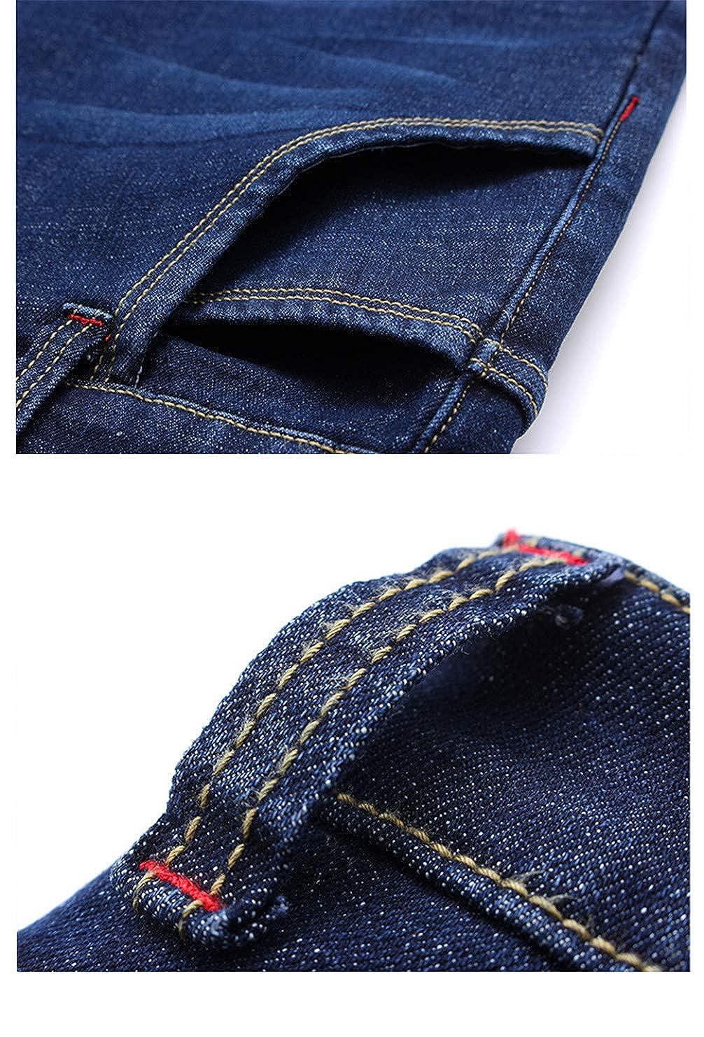 Winter Fleece Straight Stretch Business Casual Waist Classic Men Jeans