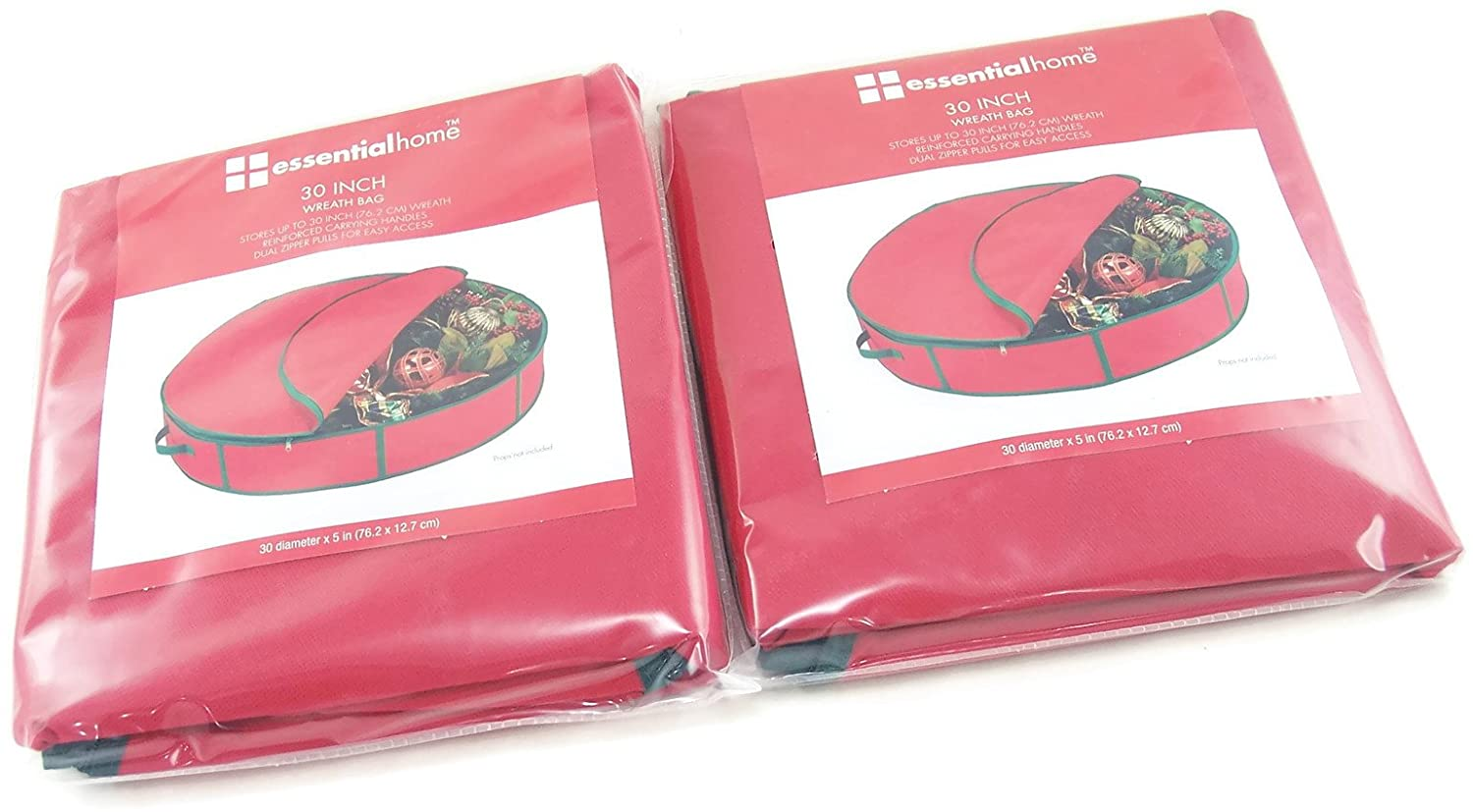 Essentialhome Wreath Storage Bags 30 Inches in Diameter X 5 Inches Tall with a Double Zipper Closure and Carrying Handle- Red (2 Pack/bags)