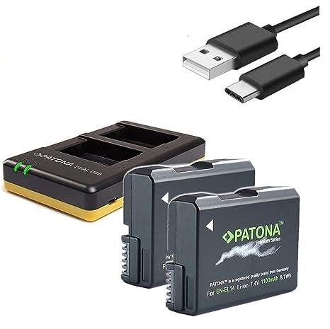 Patona Cargador USB para Nikon En-El14 Enel14 En-El14 A con ...