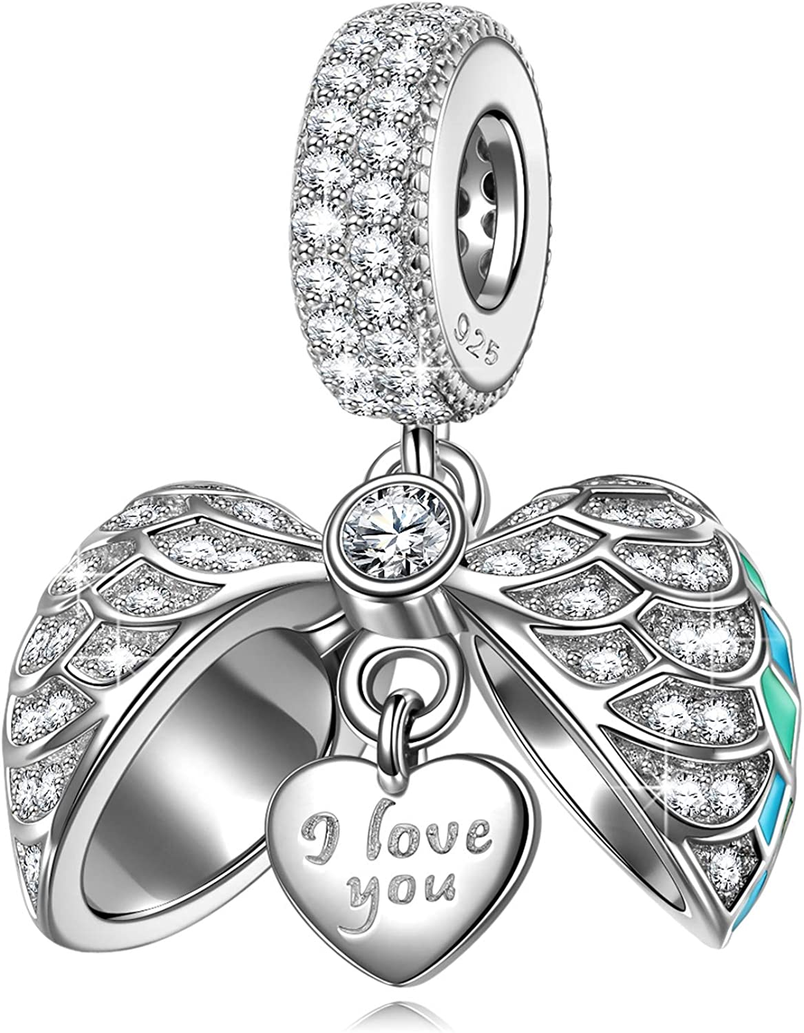 NINAQUEEN Heart Charms 925 Sterling Silver I Love You Dangle Charm Beads with Cubic Zirconi Fit European Bracelet Necklace for Women Birthday Gifts