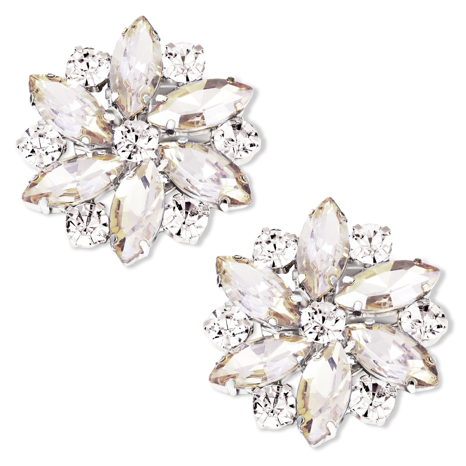 LUXVEER Removable Sparkle Rhinestone Flower Clips for Wedding Prom Shoes (Champagne)-2 Pack