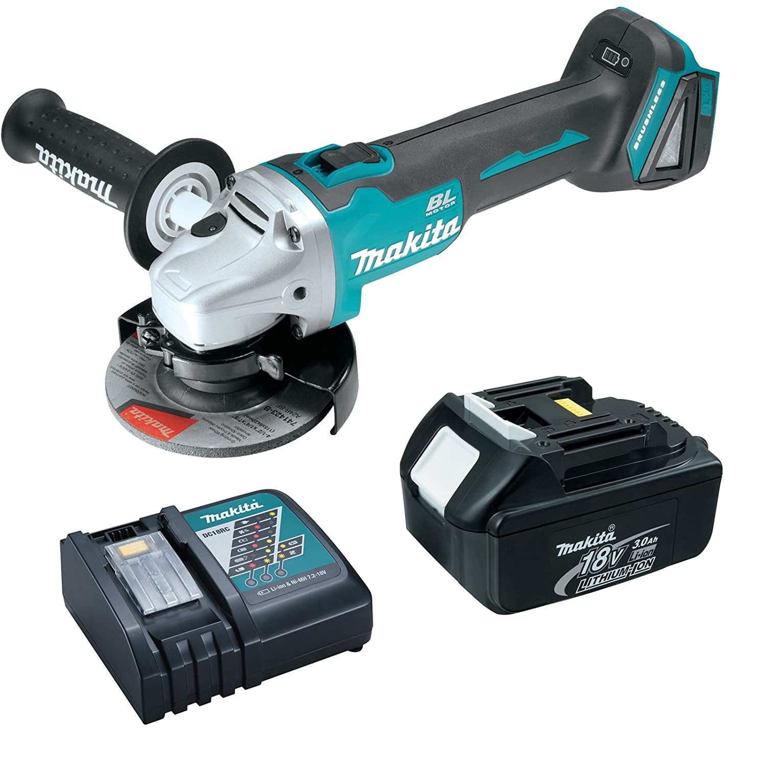 Makita XAG03Z 18V 4-1 2 Brushless Cut-Off Angle Grinder 3 Ah Battery, Charger