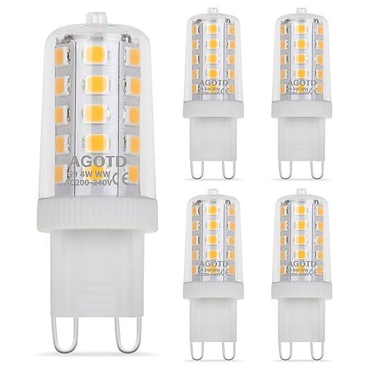 AGOTD G9 LED Bulbs 4W Warm White, Not Dimmable,28W 33W 40W Halogen ...