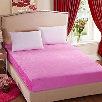 Wonderful LeamatLightweight Plain Flannel Warm Fitted Bed Sheet (King, Pink)