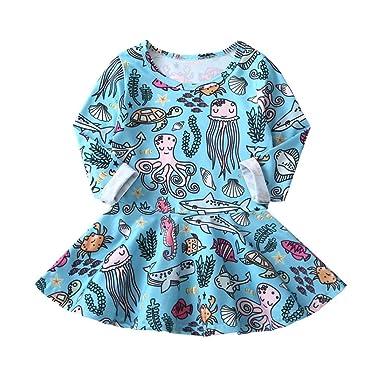 fda873c95b8 Hatoys Infant Baby Girls Animal Cartoon Dress Clothes Casual Dresses with  Long Sleeve (4T(