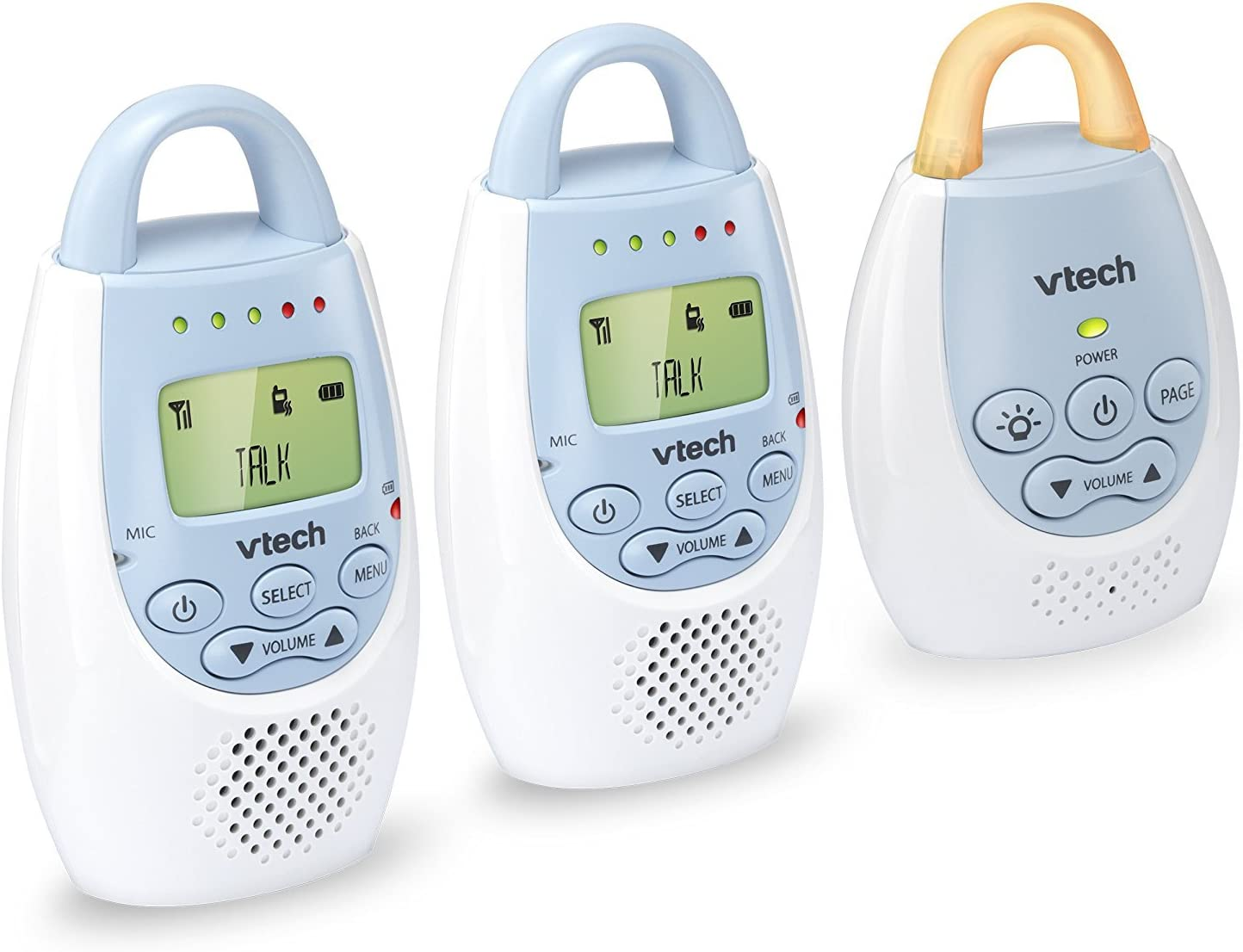 VTech BA72212BL Blue Audio Baby Monitor with up to 1,000 ft of Range, Vibrating Sound-Alert, Talk Back Intercom Night Light Loop with 2 Parent Units