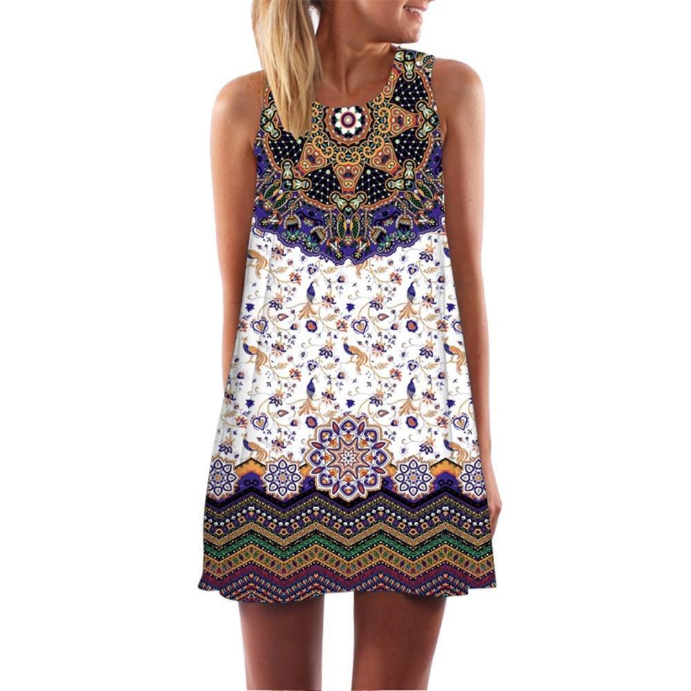 Damen Sommerkleid,Frauen Lose Sommer Vintage Ärmellose 3D Blumendruck Bohe Tank Short MiniKleid O-Ausschnitt Partykleid Cocktailkleid A-Line Von JAMINY